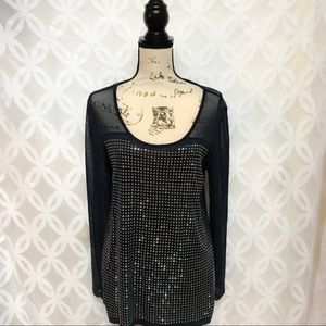 5 for $25| Deep Twilight Embellished Blouse NWT